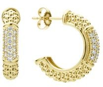 18K Yellow Gold Caviar Gold Pave Diamond Hoop Earrings