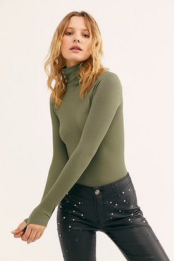 Seamless Turtleneck Bodysuit by Intimately at Free People, Deep Army, XS/S