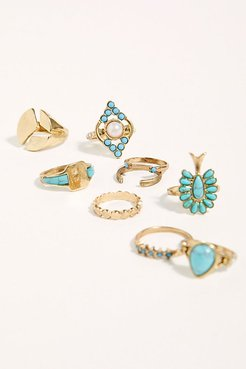 Everything Ring Set by Free People, Gold / Turquoise, One Size