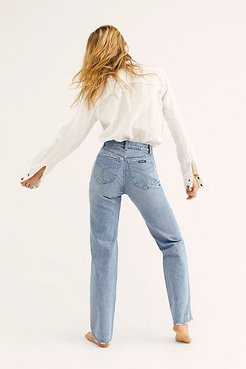 Classic Straight Jeans by Rolla's at Free People, 90's Blue, 31