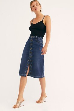 High-Rise A-Line Midi Skirt at Free People Denim