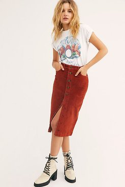 High Rise Aline Cord Midi Skirt at Free People