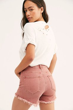 CRVY Vintage High-Rise Shorts by We The Free at Free People, Desert Rose, 30