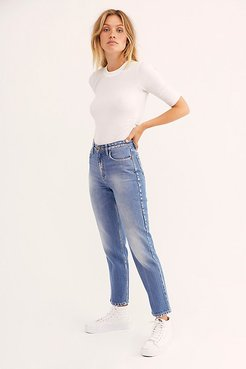 High Rise Straight Ankle Jeans at Free People