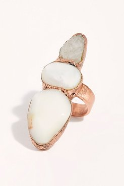 Paisley Stone Ring by Ayana Designs at Free People, Ivory, 7