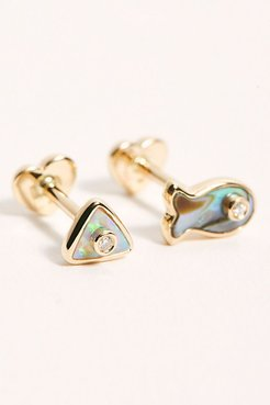 x FP Inlay Diamond Stud Single Earring by Pamela Love at Free People, Opal Triangle, One Size
