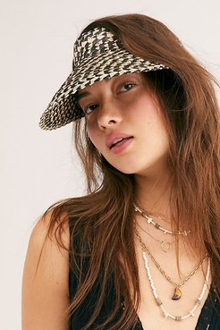 Island Hopper Speckled Straw Visor by Beachgold at Free People, Black / White, One Size