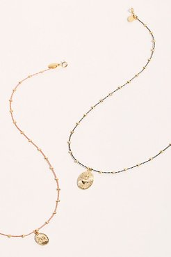 Thread Necklace by By Johanne at Free People, Pink / Olive Branch, One Size