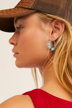 All The Must Heishi Hoop Earrings by ALLTHEMUST at Free People, Sky, One Size