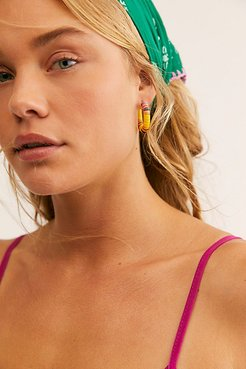 All The Must Heishi Hoop Earrings by ALLTHEMUST at Free People, Yellow, One Size