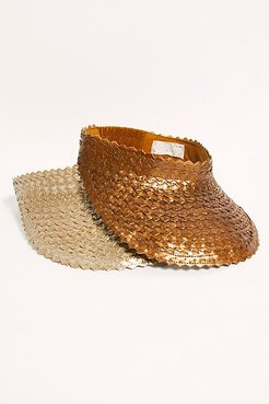 Baha Luxe Metallic Straw Visor by Beachgold at Free People, Chrome, One Size