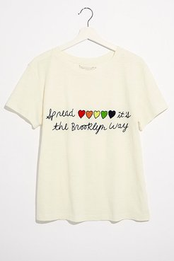 The Brooklyn Way Tee by Banner Day at Free People, White, M