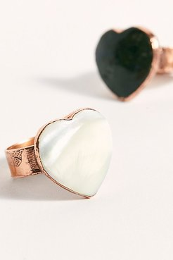 Scout Stone Ring by Ayana Designs at Free People, Copper / Mother of Pearl, US 8