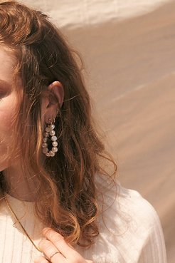 Emmy Pearl Hoop Earrings by Lili Claspe at Free People, Pearl, One Size