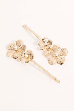 Full Bloom & Pearl Hair Pins by Free People, Gold, One Size