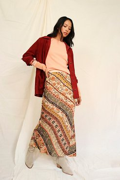 Noa Printed Slip Skirt by Free People, Tan Combo, M