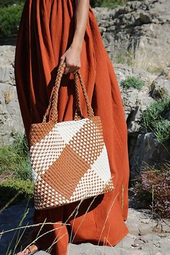 Penelope Plaid Tote by Free People, Tan Cream, One Size
