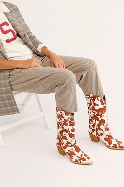 Dagget Printed Western Boot by Jeffrey Campbell at Free People, Tan / White Cow, US 7.5