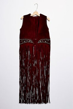 Paris Texas Fringe Vest by Understated Leather at Free People, Burgundy, M