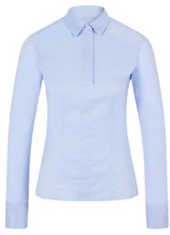 HUGO BOSS - Slim Fit Blouse With Darted Seam Detail - Light Blue
