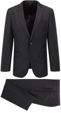 HUGO BOSS - Slim Fit Suit In Virgin Wool With Natural Stretch - Black