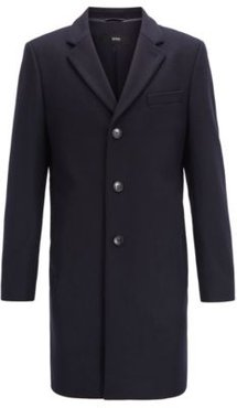 HUGO BOSS - Formal Coat In Wool And Cashmere With Notch Lapels - Dark Blue