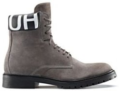 BOSS - Lace Up Suede Boots With Logo Print Padded Collar - Dark Grey
