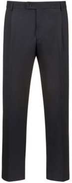 BOSS - Extra Slim Fit Cropped Pants With Silk Stripe - Black