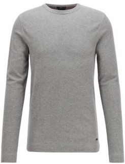 HUGO BOSS - Slim Fit T Shirt With Long Sleeves In Waffle Cotton - Light Grey
