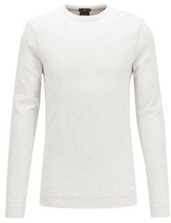 HUGO BOSS - Slim Fit T Shirt With Long Sleeves In Waffle Cotton - White