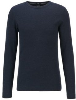 HUGO BOSS - Slim Fit T Shirt With Long Sleeves In Waffle Cotton - Dark Blue