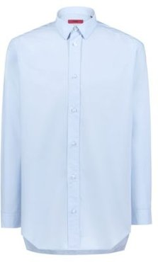 BOSS - Oversized Fit Shirt In Paper Touch Cotton - Open Blue