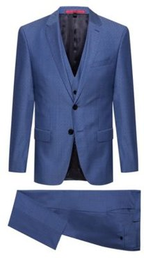 BOSS - Slim Fit Three Piece Suit In Patterned Tropical Wool - Blue