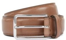 HUGO BOSS - Italian Made Belt In Leather With Double Stitching Detail - Khaki