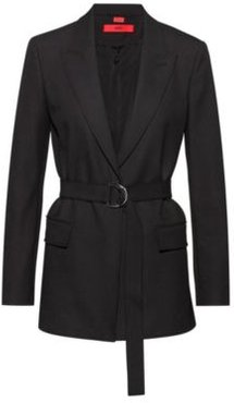 BOSS - Regular Fit Jacket In Midweight Crepe With Belt - Black