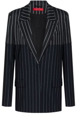 BOSS - Regular Fit Jacket With Mixed Vertical Stripes - Black