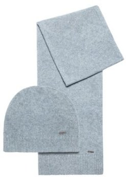 BOSS - Scarf And Beanie Hat Gift Set In Wool Jacquard - Grey