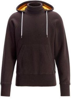 HUGO BOSS - Hooded Sweater In Double Faced Fabric With Turtleneck - Dark Brown