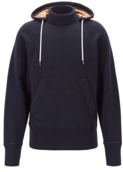 HUGO BOSS - Hooded Sweater In Double Faced Fabric With Turtleneck - Dark Blue