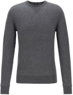 HUGO BOSS - Crew Neck Sweater In A Double Faced Wool Cotton Blend - Grey