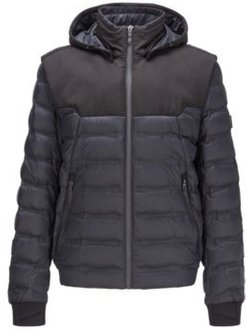 HUGO BOSS - Water Repellent Down Jacket With Detachable Hood And Sleeves - Black