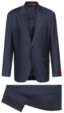 BOSS - Relaxed Fit Suit In Houndstooth Virgin Wool - Blue