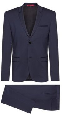 BOSS - Extra Slim Fit Packable Suit In Crease Resistant Fabric - Dark Blue