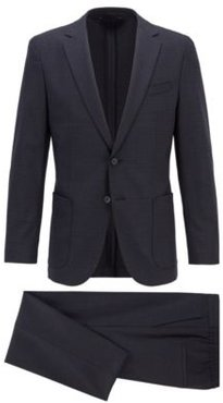 HUGO BOSS - Slim Fit Suit In Checked Stretch Fabric - Dark Blue