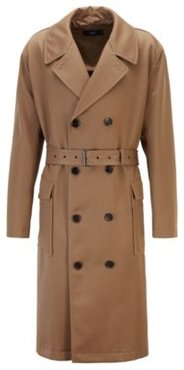 HUGO BOSS - Relaxed Fit Double Breasted Coat In Virgin Wool Twill - Khaki