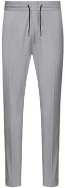 BOSS - Tapered Fit Pants With Contrast Side Seam Tape - Grey