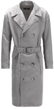 HUGO BOSS - Relaxed Fit Coat In Water Repellent Fabric With Belt - Silver