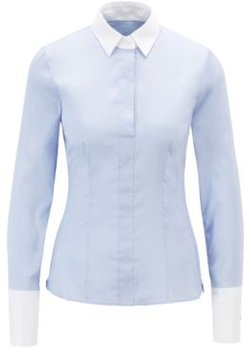 HUGO BOSS - Slim Fit Blouse With Contrast Collar And Cuffs - Light Blue