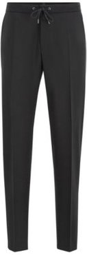 HUGO BOSS - Slim Fit Pants In Traceable Wool With Drawstring Waist - Black