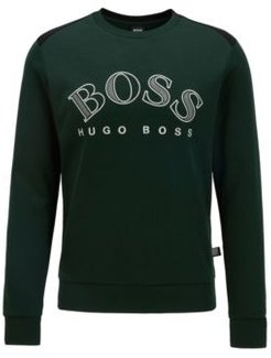 HUGO BOSS - Cotton Blend Sweatshirt With Curved Logo Embroidery - Open Green
